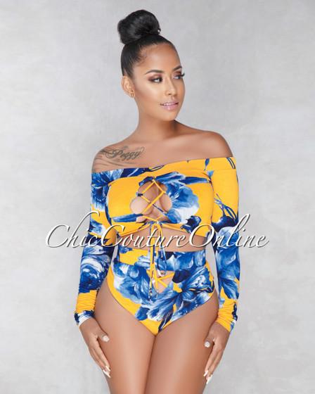 Kelsey Mustard Blue Floral Two Piece Set Swimsuit