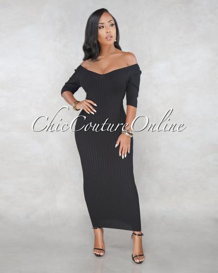Narahi Black Ribbed Sweater Maxi Dress