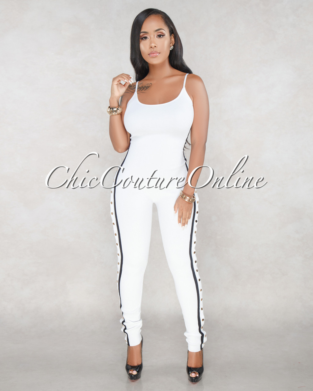7659988004f3 Salma Off White Knit Side Details Jumpsuit. Price   68.00. Image 1