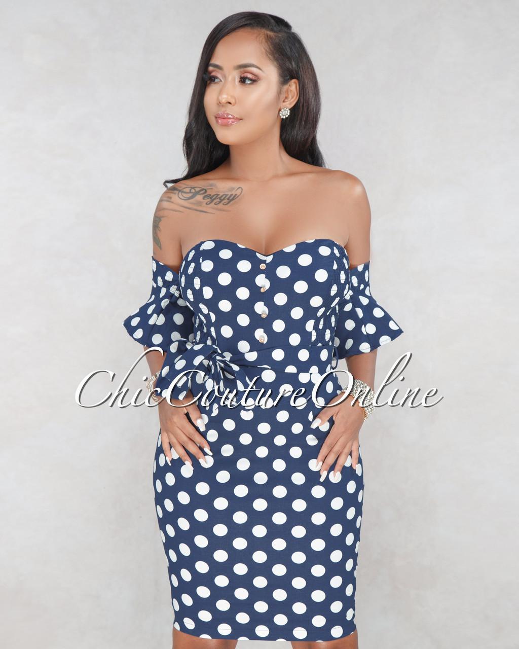 ff9bb23e99b3 Meenie Navy & White Polka Dots Dress