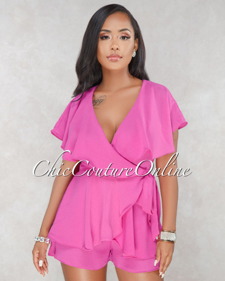 Laurel Fuchsia Ruffle Open Back Romper