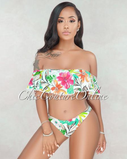 Brook White Floral Print Ruffle Bikini Set