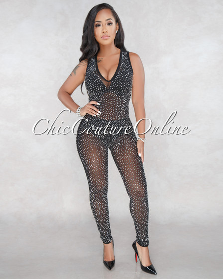 Axel Black Silver Rhinestones Semi-Sheer Jumpsuit