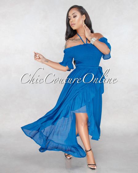 Porsha Blue Rushed Ruffle Maxi Dress