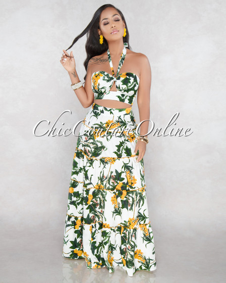 Fosler Off White Yellow Floral Two Piece Skirt Set