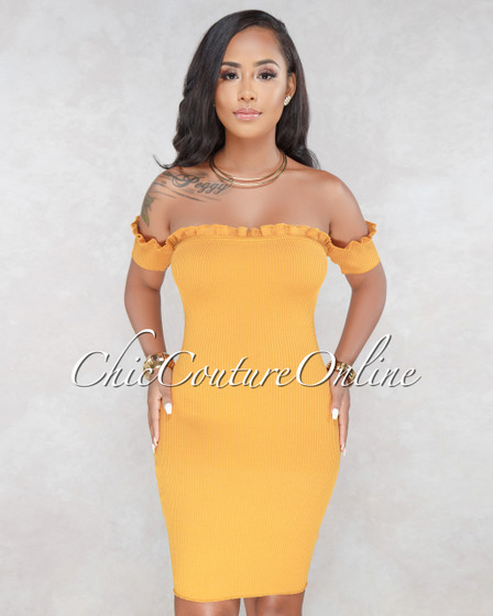Lorry Mustard Off The Shoulder Knit Dress