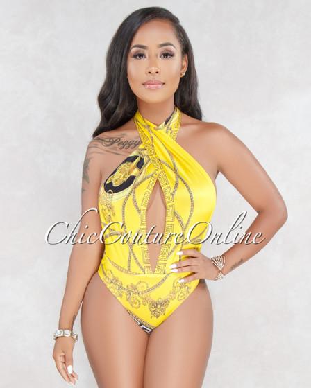 Mellie Yellow Printed Bodysuit