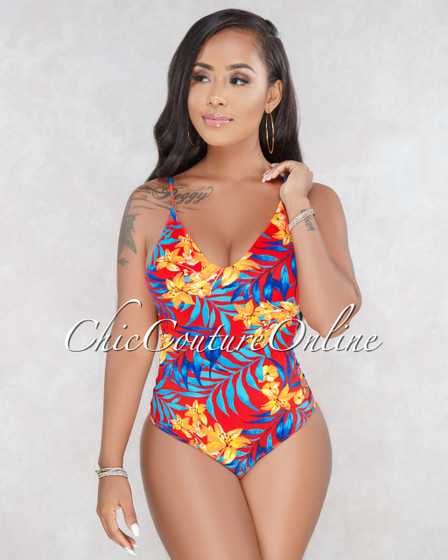 Gemma Red Floral One Piece Swimsuit