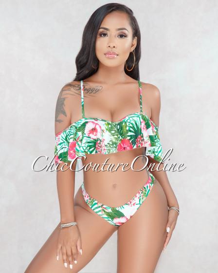 Nancy White Floral Print Ruffle Bikini Set