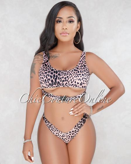 Nissa Black Blush Leopard Print Bikini Set