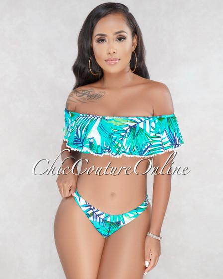 Brook Turquoise White Floral Print Ruffle Bikini Set
