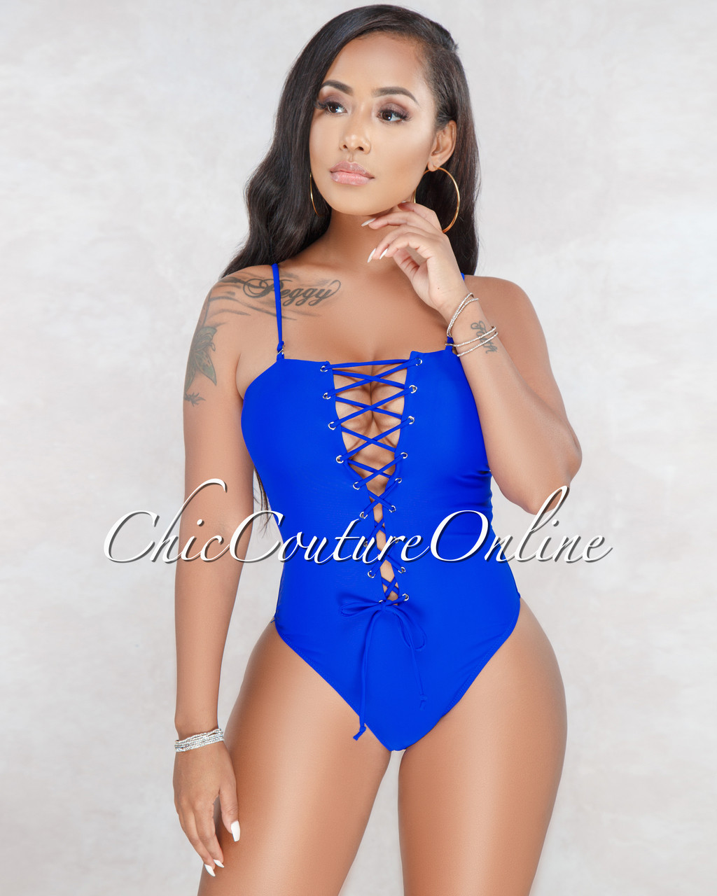 8eaf2b2c6b8a Misha Royal-Blue Strappy One Piece Swimsuit