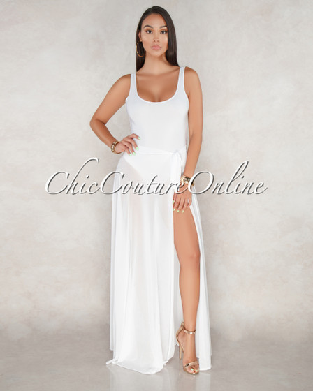Belinda Off White Skirt Cover Up Two Piece Swimsuit
