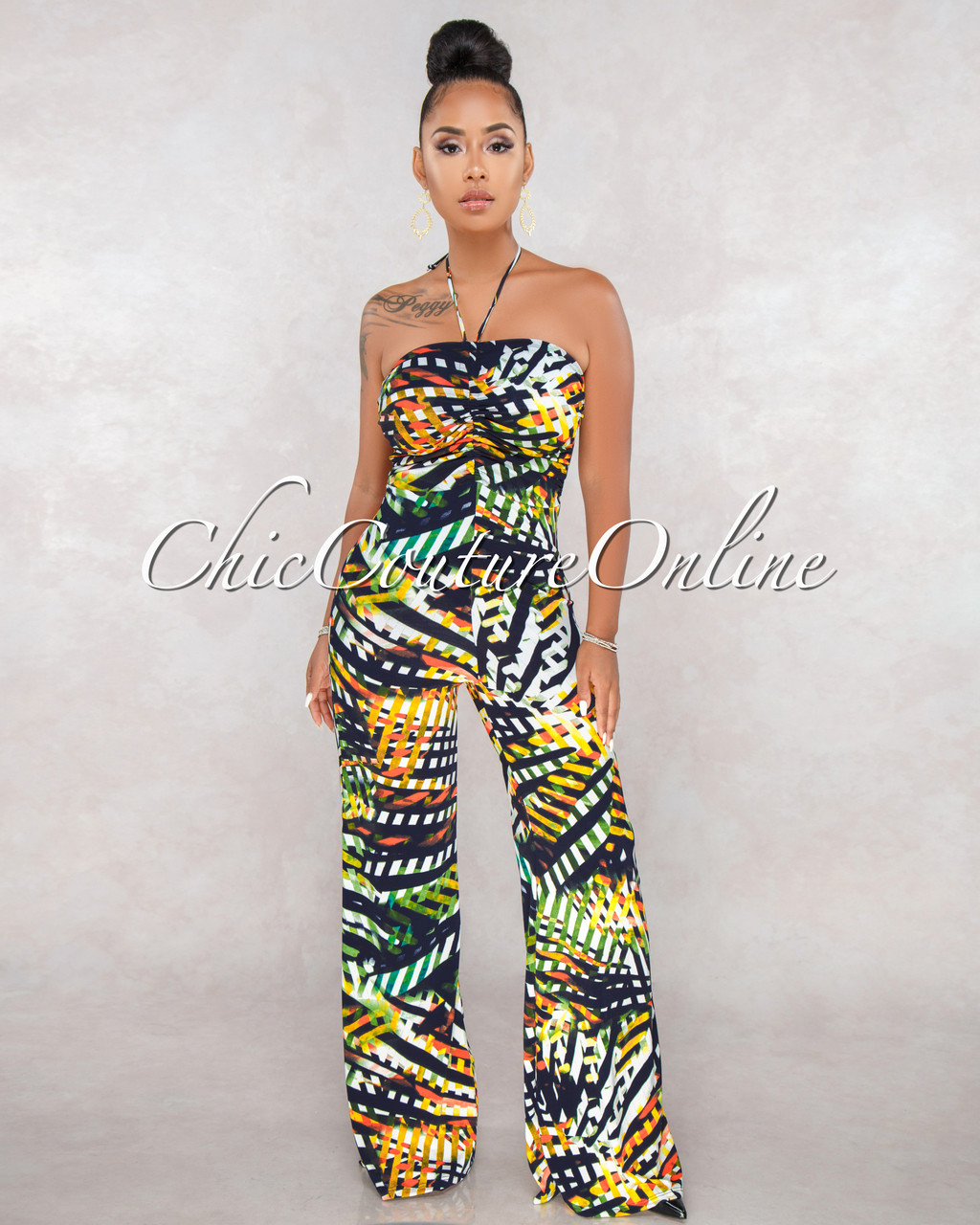 f6a15184dcd7 Margie Navy Blue Multi Color Rushed Strapless Jumpsuit. Price: $50.00.  Image 1