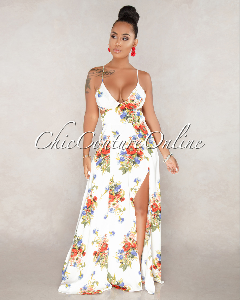 Anna off white multi color floral print front slits maxi dress image 1 mightylinksfo
