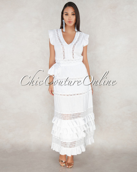 Valley Off-White Crochet Design Maxi Dress
