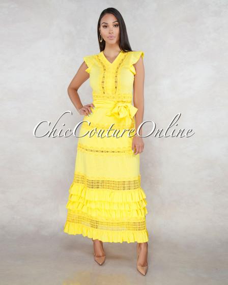 Valley Yellow Crochet Design Maxi Dress