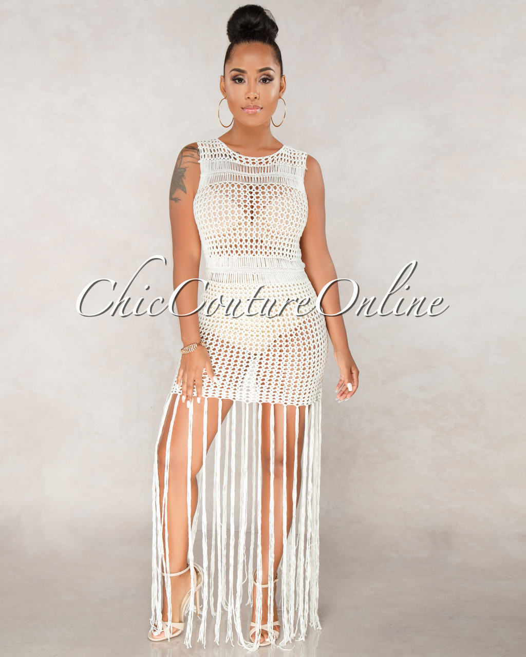 Dante Off White Crochet Cover Up Fringe Dress