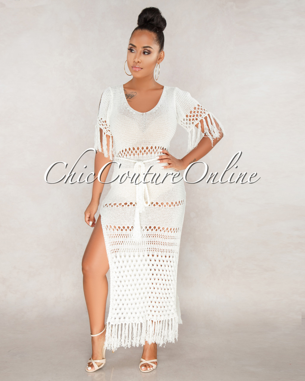 Candace Ivory See Through Crochet Dress