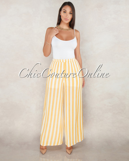 Zainab Sunspot Yellow Stripes Pants