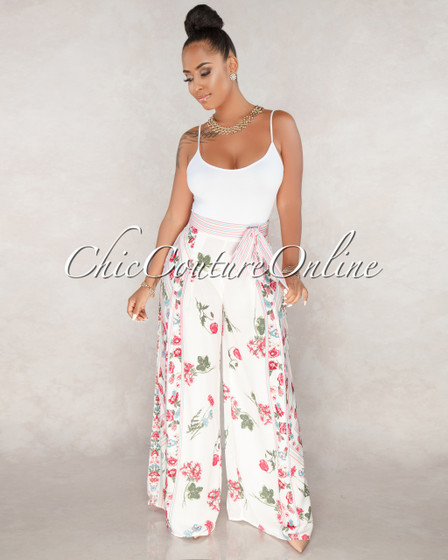 Syrie White Floral Wide Legs Pants