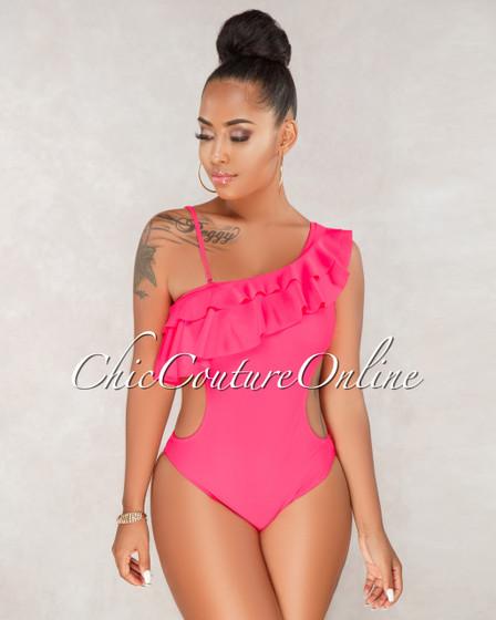 Nivea Neon Pink One Shoulder Piece Swimsuit