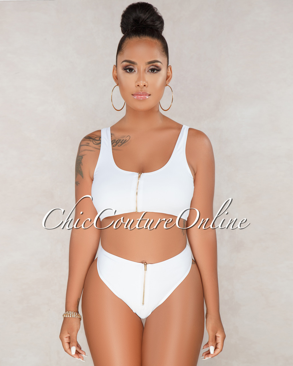eb6f6121fbec5 Mayah White Front Zipper Two Piece Swimsuit. Price: $50.00. Image 1