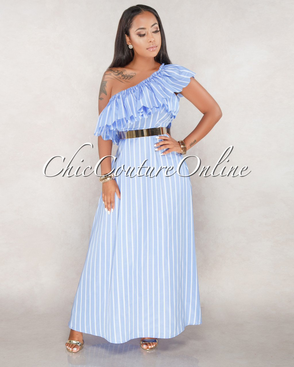4afbeab9ab4d Nina Baby Blue White Stripes Ruffle Sleeve Maxi Dress