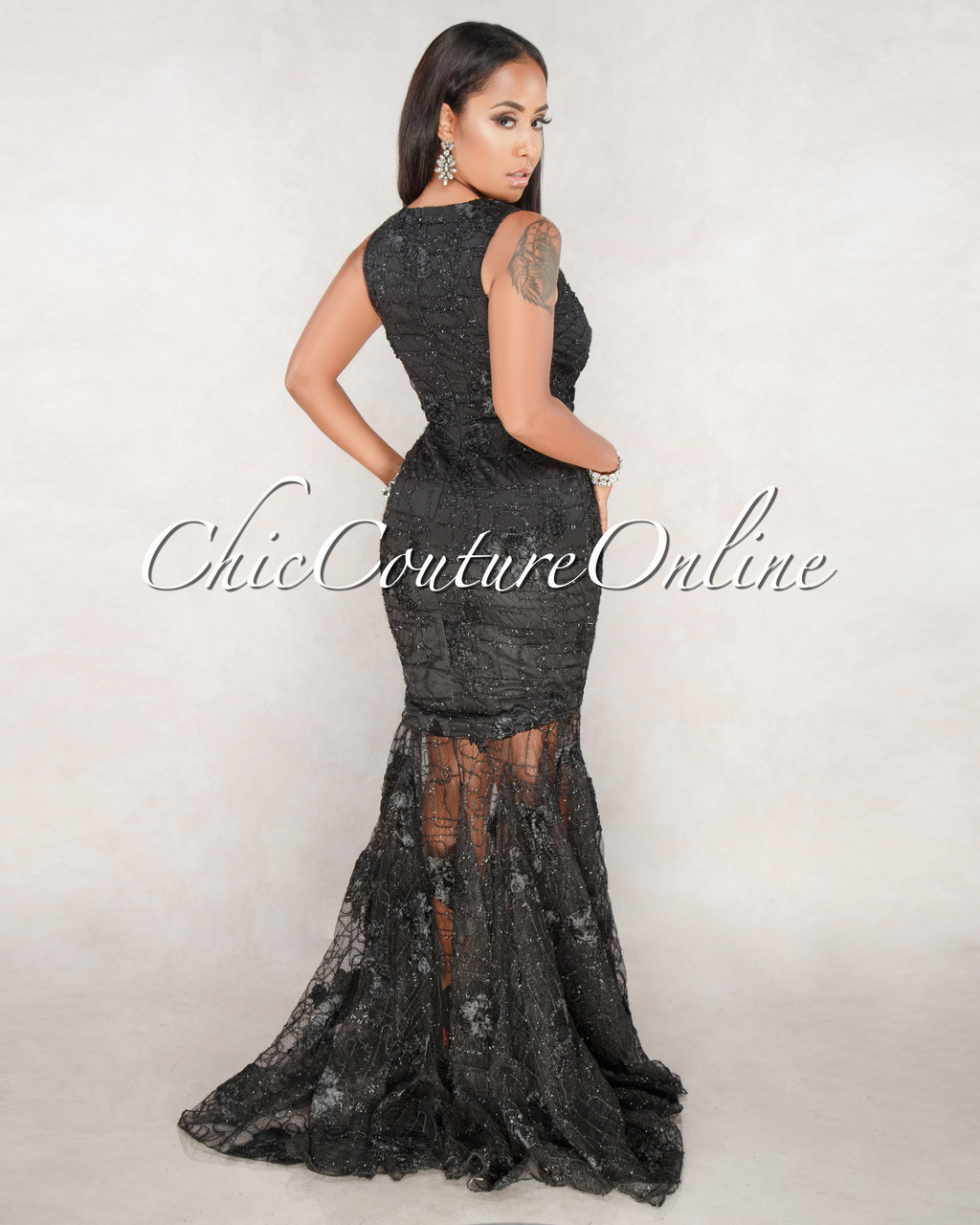 bcb736bab1ddb Moore Black Lace Floral Embroidery Mermaid Gown. Price: $150.00. Image 1.  Larger / More Photos