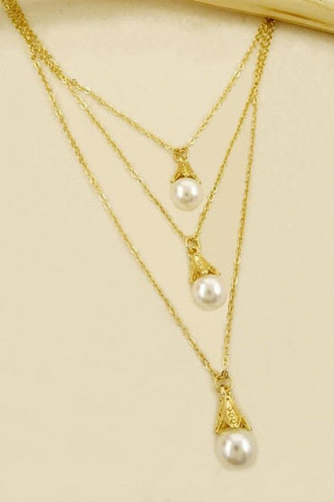 Kaya Golden Drop Pearl Layered Necklace