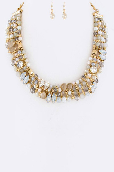 Ahn Golden Natural Beaded Statement Necklace