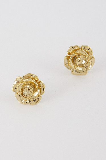 Rosey Golden Rose Studs Earrings