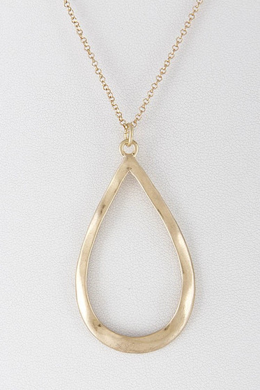 Morna Golden Teardrop Long Necklace