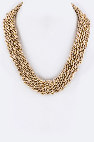 Iris Golden Laced Chain Statement Necklace