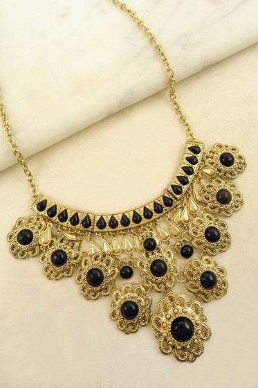 Maddy Golden Black Stones Filigree Statement Necklace
