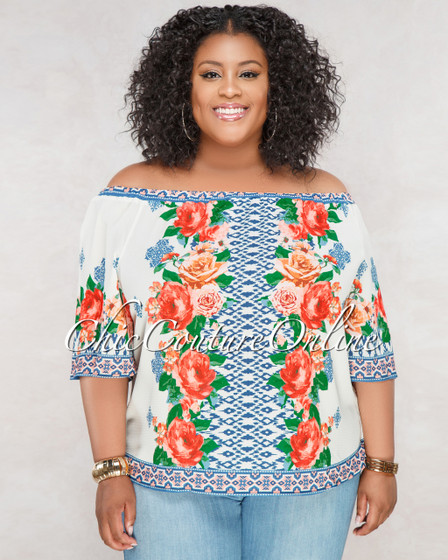 Robinah Ivory Blue Orange Floral Print CURVACEOUS Top