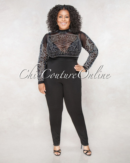 Brandy Black Semi Sheer Rhinestones Top CURVACEOUS Jumpsuit
