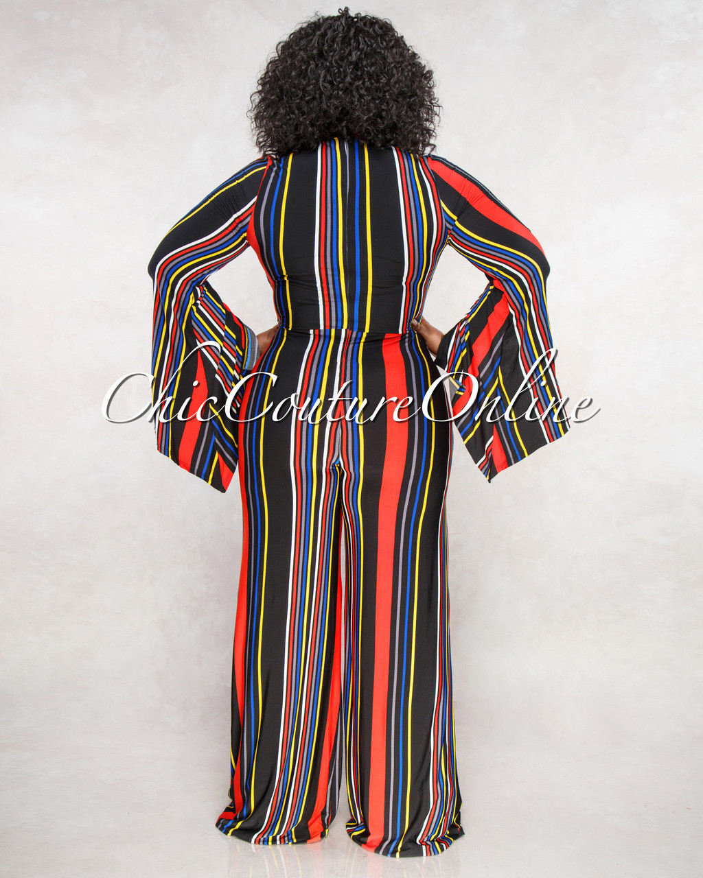 ed5d72c3ac81 Sarena Black Red Yellow Stripes CURVACEOUS Jumpsuit. Price   70.00. Image  1. Larger   More Photos