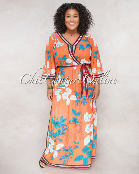 Annely Orange Floral Print CURVACEAOUS Belted Maxi Dress