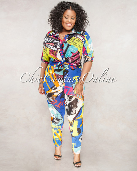 Cassia Black Multi Color Print CURVACEOUS Set