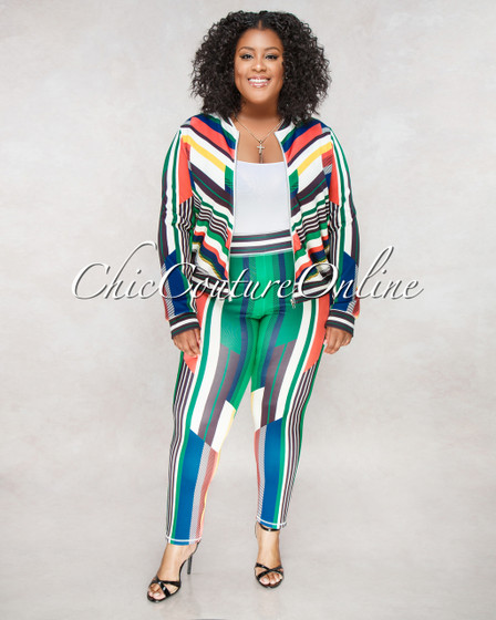 Samaya Black Multi Color Stripes CURVACEOUS Set