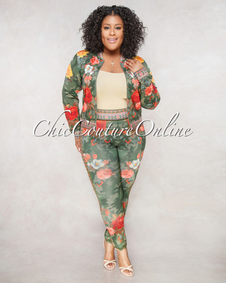 Soho Olive Green Multi Color Floral Print CURVACEOUS Set