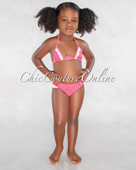 Queenie Red Gingham Lace Details Two Piece Kids Swimsuit