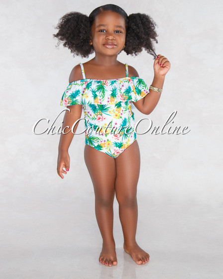 Pinny Off White Pineapple Print Kids Swimsuit
