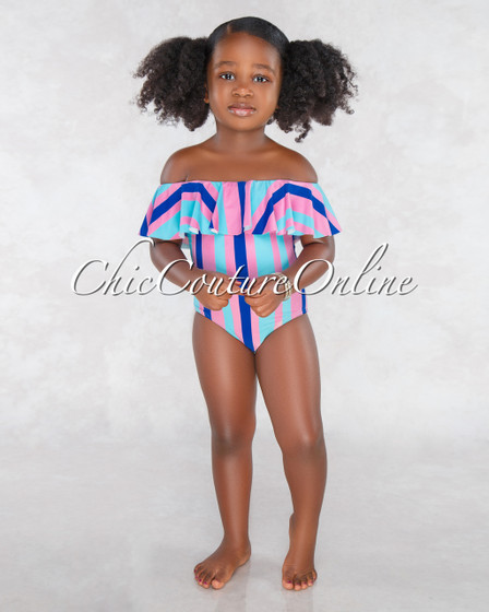 Fairy Pink Blue Stripes Off The Shoulder Kids Swimsuit