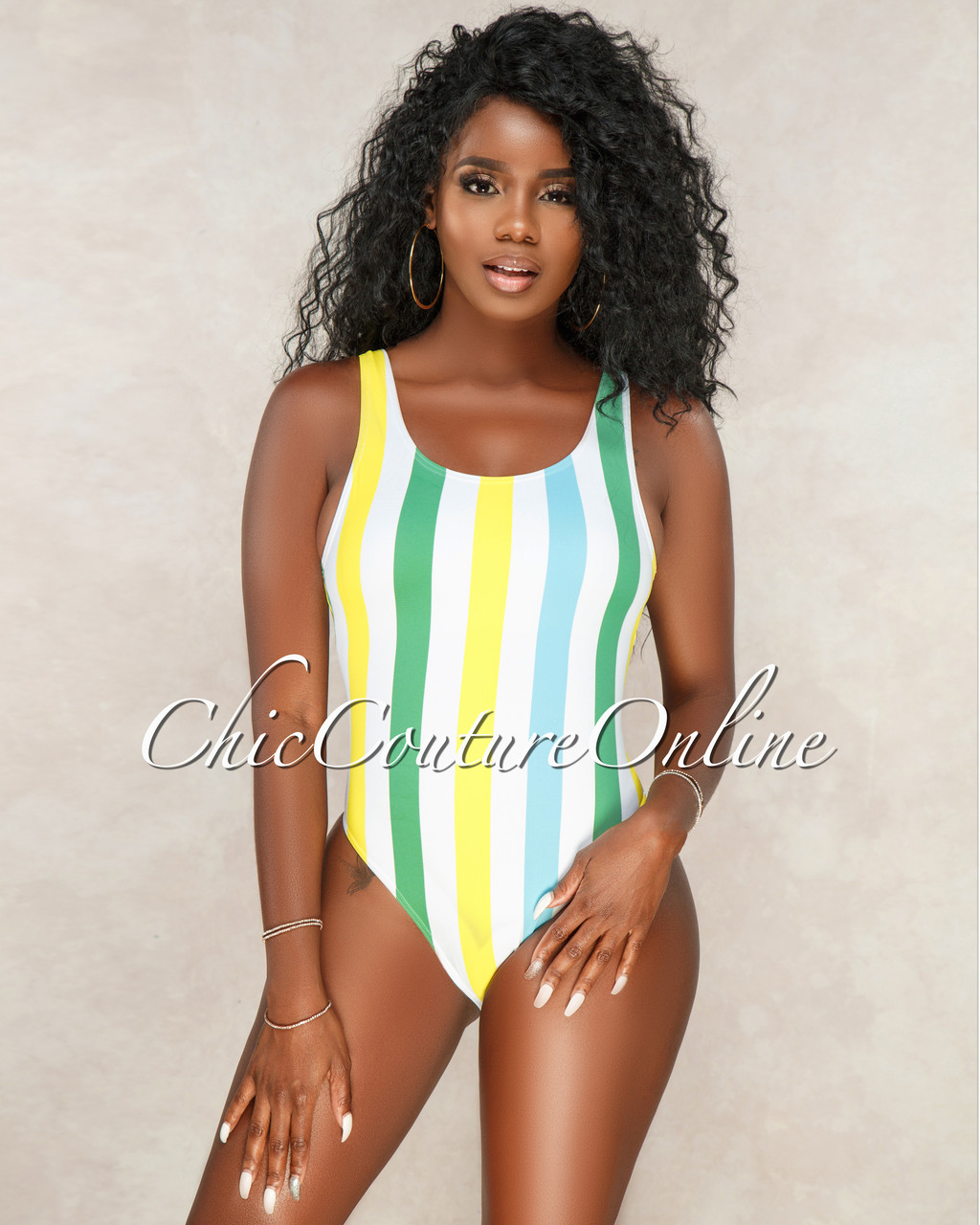 ff13d860b61 Oriana Off White Blue Yellow Stripes One Piece Swimsuit
