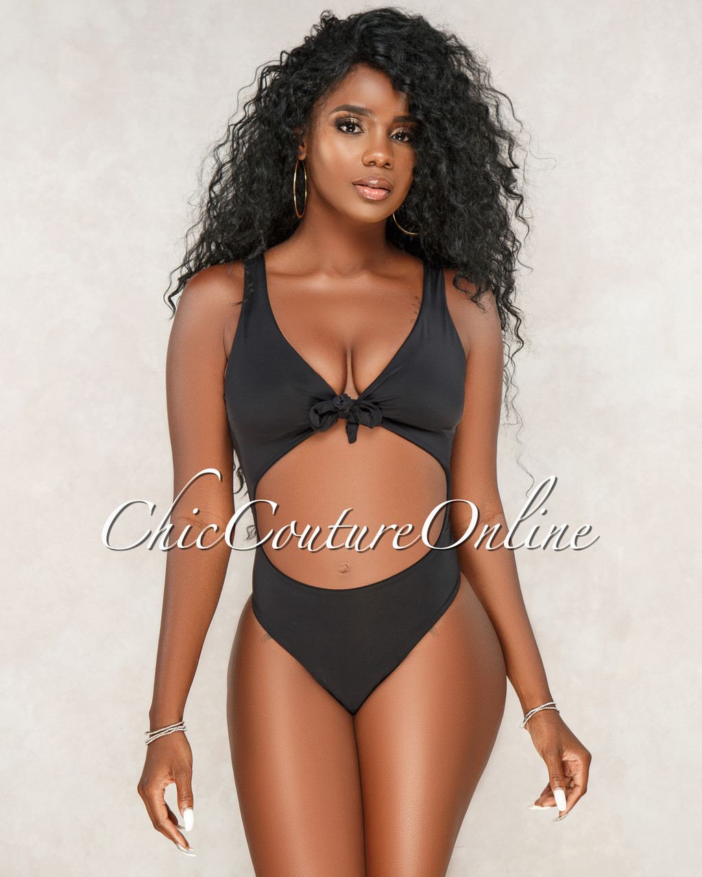 retro On Clearance pretty cheap Krystal Black Key-Hole Front Tie One Piece Swimsuit