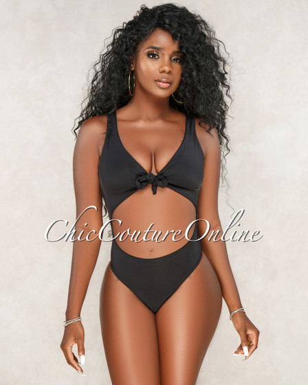 Krystal Black Key-Hole Front Tie One Piece Swimsuit