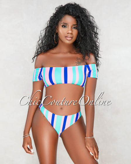 Divine Mint Pink Blue Stripes Two Piece Swimsuit