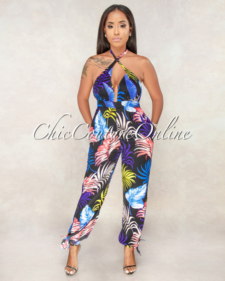 Dalton Black Multi Color Leaf Print Halter Jumpsuit